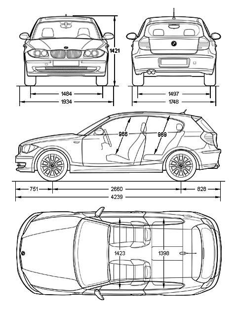 Схема габаритных размеров кузова Е81 1-й серии БМВ