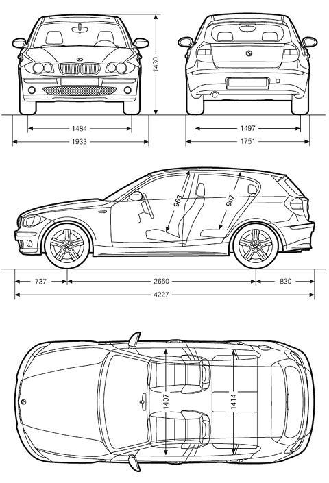 Схема габаритных размеров BMW E87 1-й серии