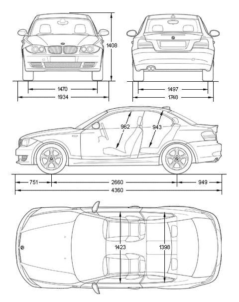 Габариты, размеры BMW E82 Купе 1-й серии