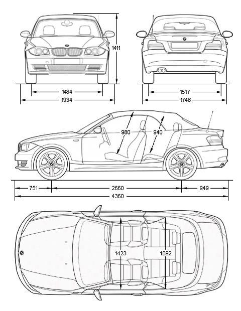Схема, чертеж габаритов и габаритных размеров BMW E88 1-й серии в кузове кабриолет с индексом Е88