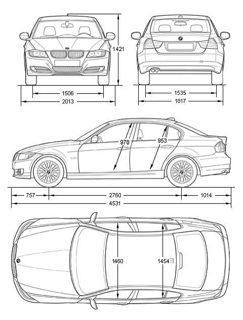 BMW E90 габаритные размеры, схема