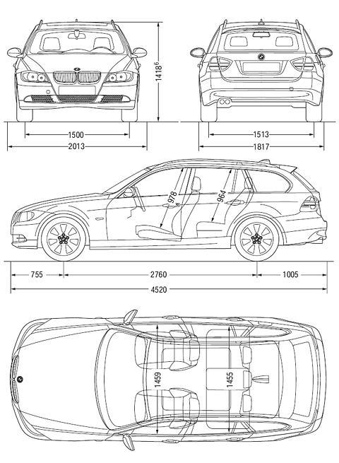 Схема габаритных размеров универсала 3-й серии БМВ в кузове Е91