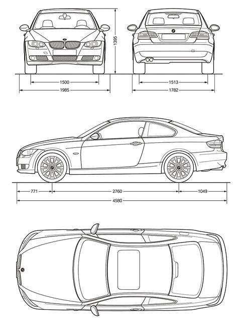 Схема габаритных размеров BMW E92 Купе 3-й серии