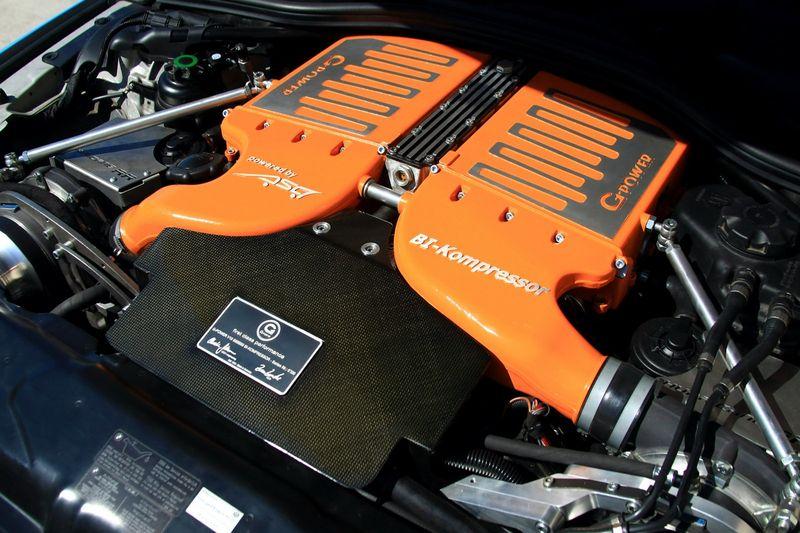 BMW M5 E60 G-Power Hurricane RRs двигатель с компрессором, оранжевая крышка, фото