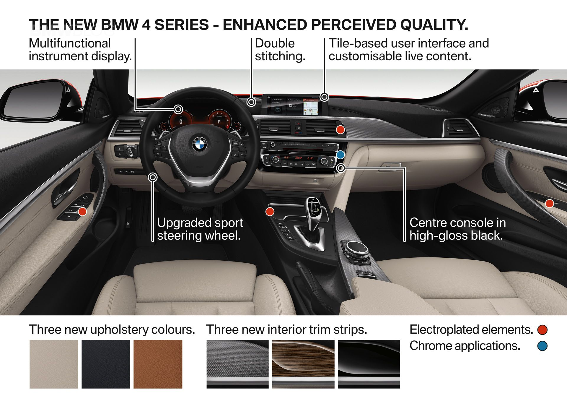 салон интерьер на BMW 4-й серии рестайлинг LCI facelift
