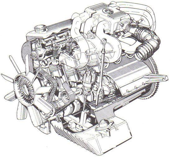 Схема двигателя BMW M20 с недостатками